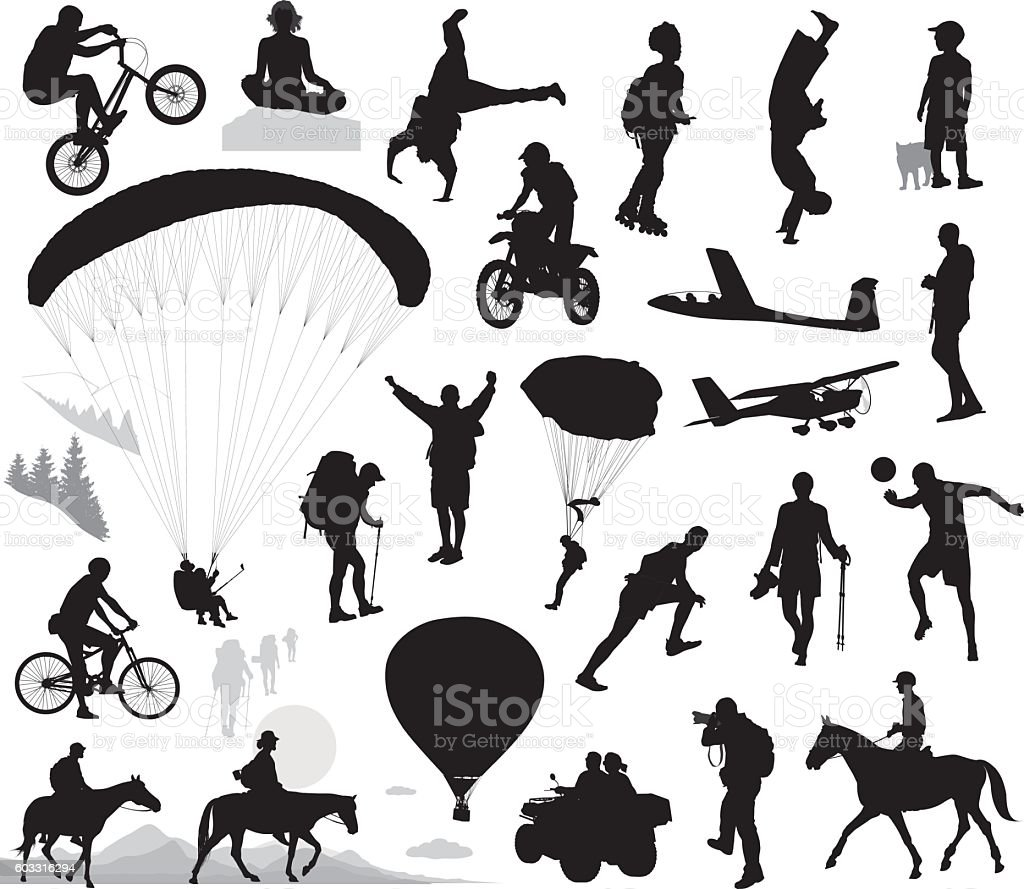 Summer activities and extreme sports set vector art illustration