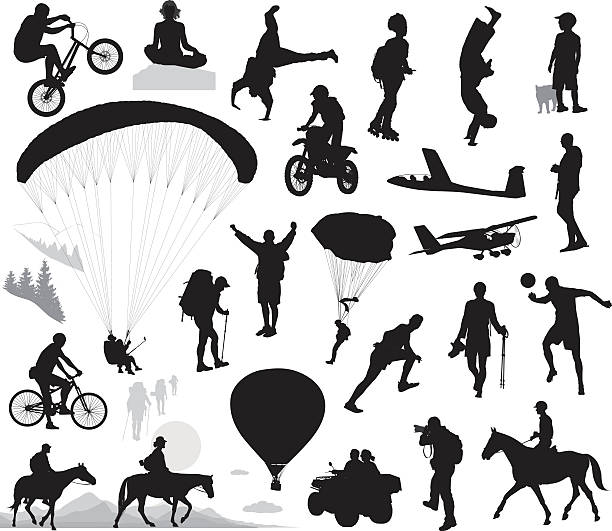 bildbanksillustrationer, clip art samt tecknat material och ikoner med summer activities and extreme sports set - tonåring häst