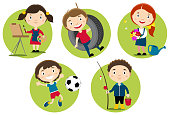 Children with their hobbies and leisure activities.