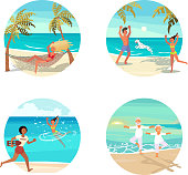 Summer activities for people characters on vacation set