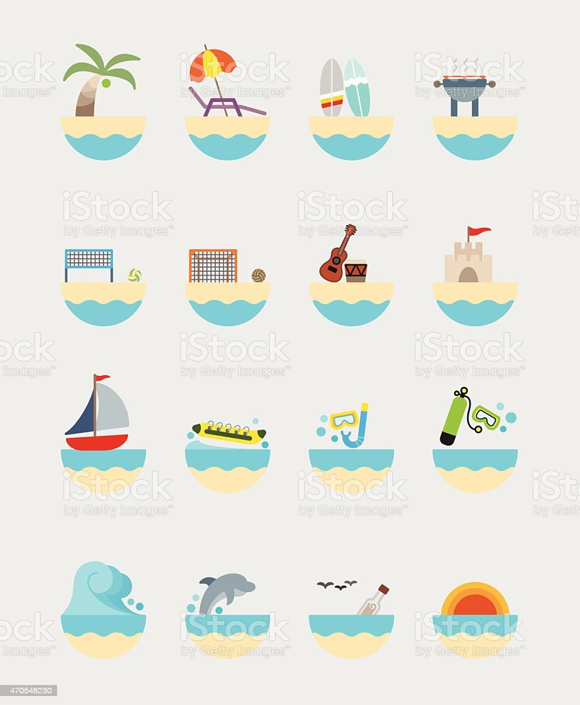 16 Summer activities icons color vector art illustration