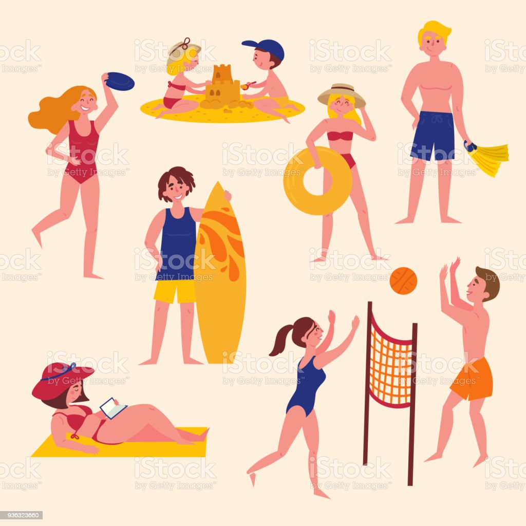 Summer Activities On The Beach Sport And Leisure Royalty Free