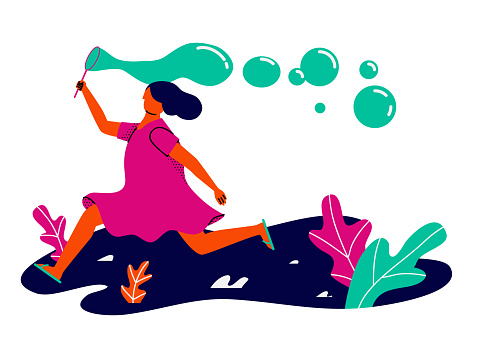 Summer activity, girl running playing with bubble blower clipart