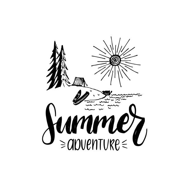 summer adventure poster with lettering. vector touristic label with hand drawn forest lake illustration. camp emblem. - jezioro stock illustrations