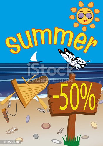 istock summer advertising poster for businesses, all designs are in separate layers for easy modification 1312793451