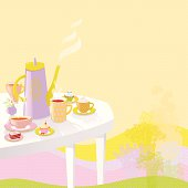 Miss-matched tea set and sweets on outdoor table. Summer party invitation. Vector. EPS 10. Used object transparency.