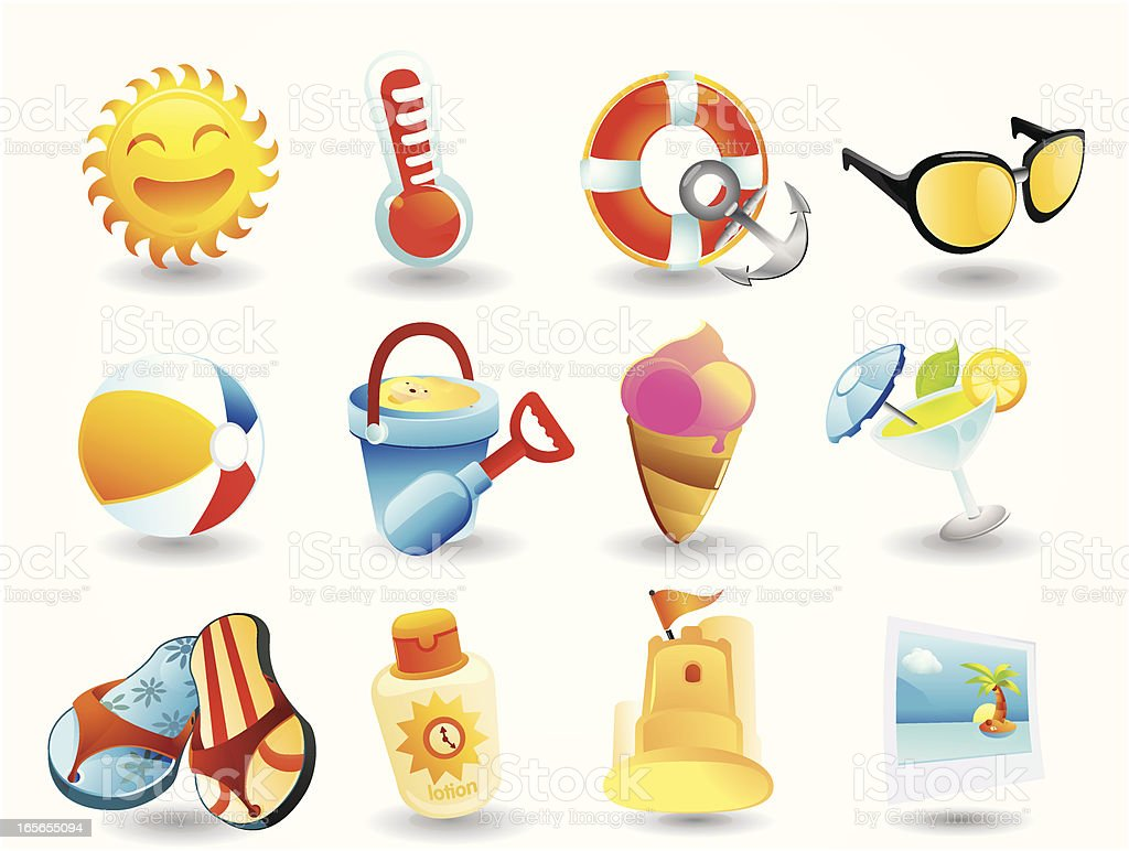 Summer & Travel Icons vector art illustration