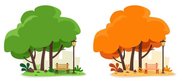 bildbanksillustrationer, clip art samt tecknat material och ikoner med sommar-och höst illustration med en mysig butik och en gat lykta för avkoppling under träden. vektor uppsättning av två illustrationer på whit - naturparksområde