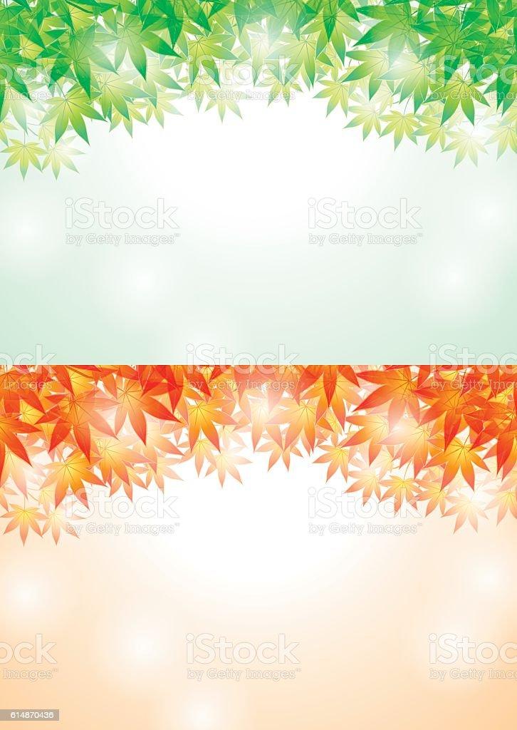 Summer and autumn leaves. Japanese landscape. vector art illustration