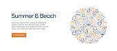 Summer and Beach Banner Template with Line Icons. Modern vector illustration for Advertisement, Header, Website.