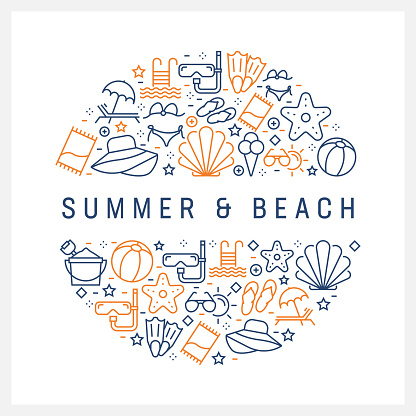 Summer and Beach Concept - Colorful Line Icons, Arranged in Circle