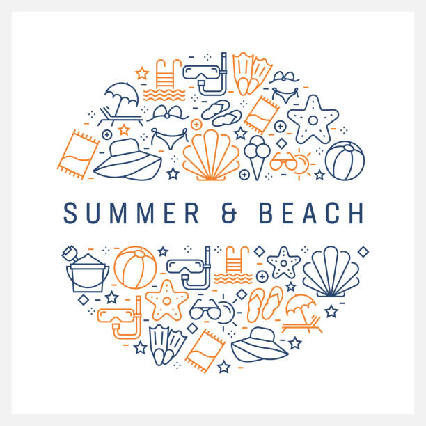 Summer and Beach Concept - Colorful Line Icons, Arranged in Circle Summer and Beach Concept - Colorful Line Icons, Arranged in Circle land feature stock illustrations