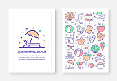 Summer and Beach Concept Line Style Cover Design for Annual Report, Flyer, Brochure.