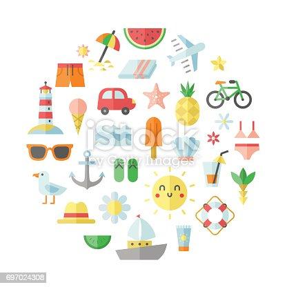 Summer, sea and beach flat vector circle illustration.