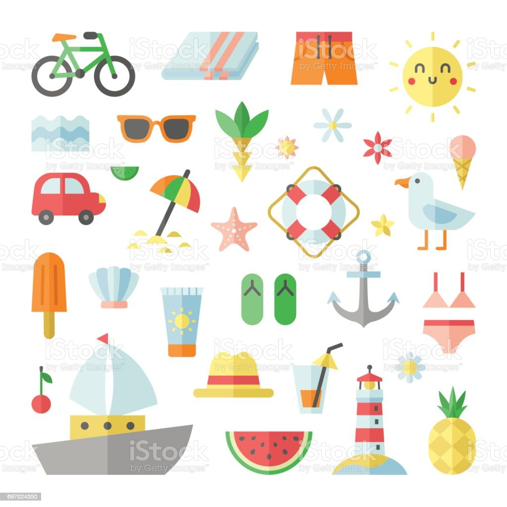 Summer and beach flat vector square big set. vector art illustration