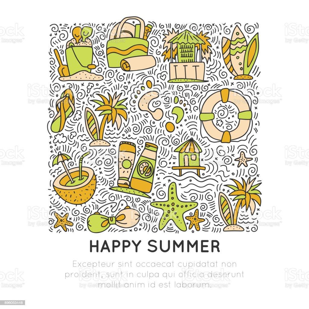 Yaz Ve Plaj El Simgesi Kavramı çizin Yaz Simgeler Koleksiyonu çizgi