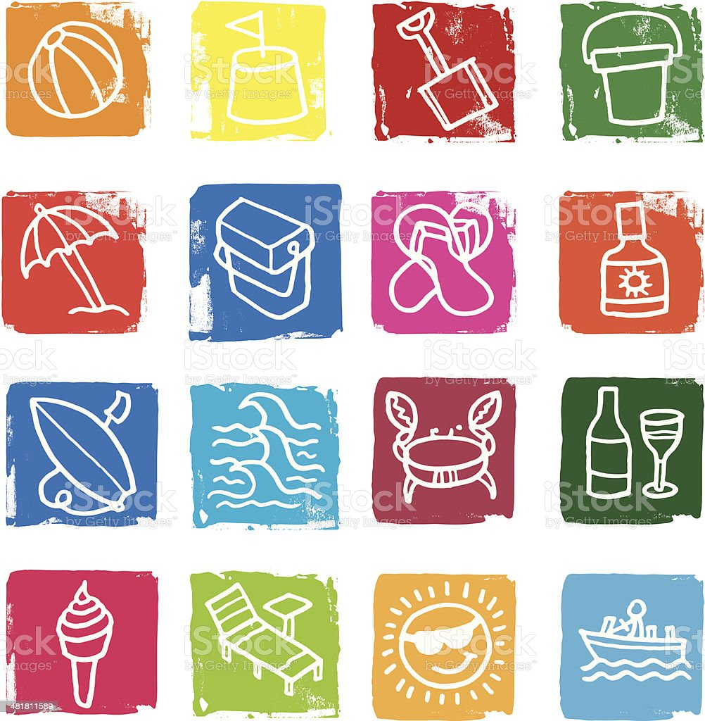 Summer and beach icon set royalty-free stock vector art