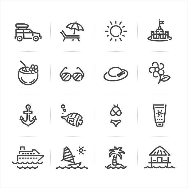 sommer strand und symbole - sonnenstuhl stock-grafiken, -clipart, -cartoons und -symbole