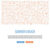 Summer and Beach Related Banner Design with Pattern. Modern Line Style Icons Vector Illustration