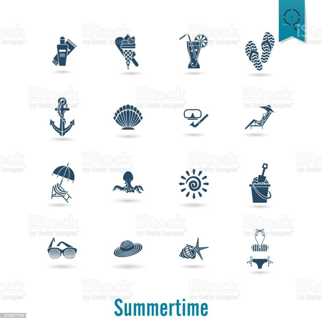 Summer and Beach Simple Flat Icons vector art illustration