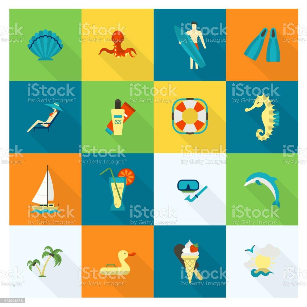 Estate e spiaggia semplici icone piatto estate e spiaggia semplici icone piatto - immagini vettoriali stock e altre immagini di abbronzarsi royalty-free