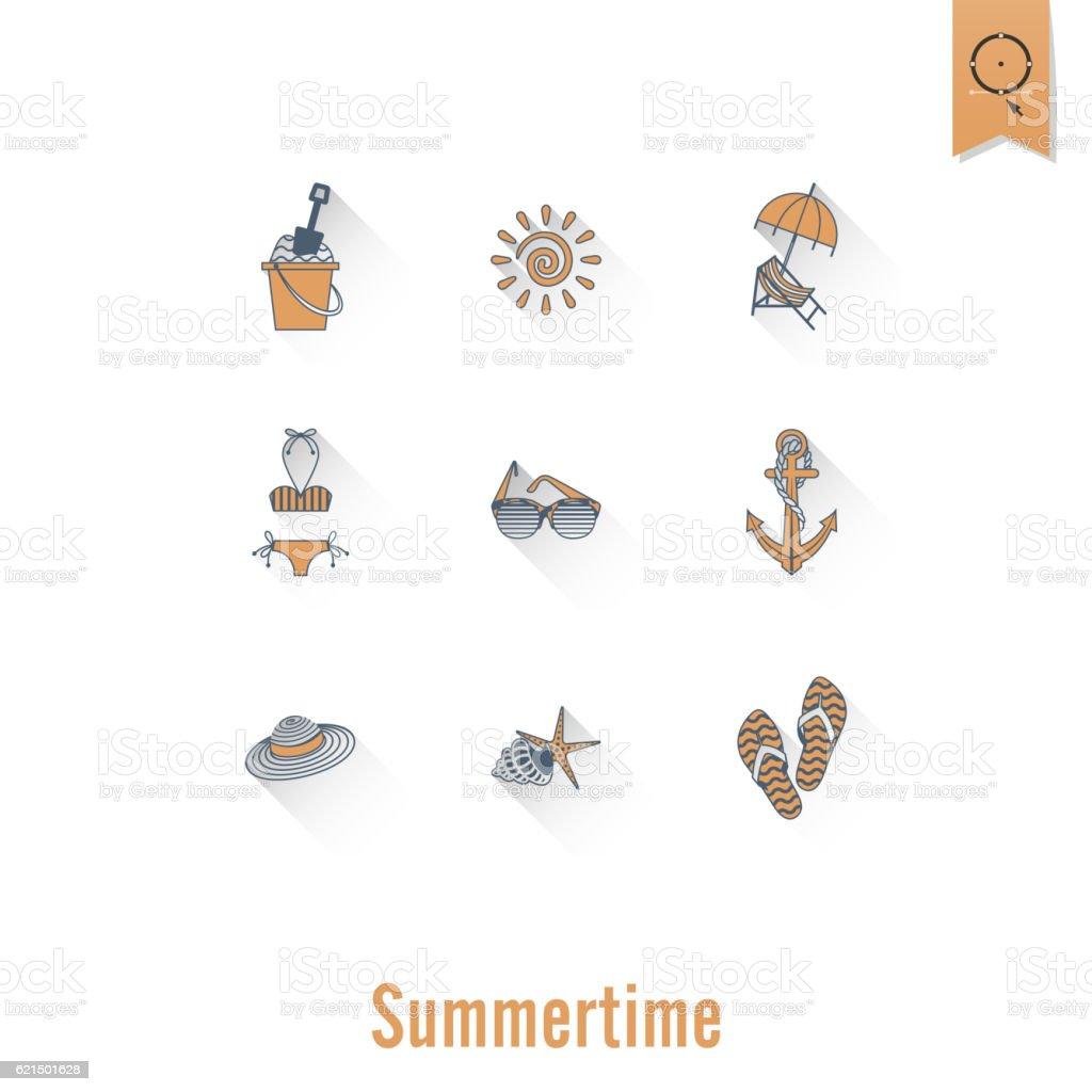 Sommer Strand und einfach flach Symbole Lizenzfreies sommer strand und einfach flach symbole stock vektor art und mehr bilder von anker