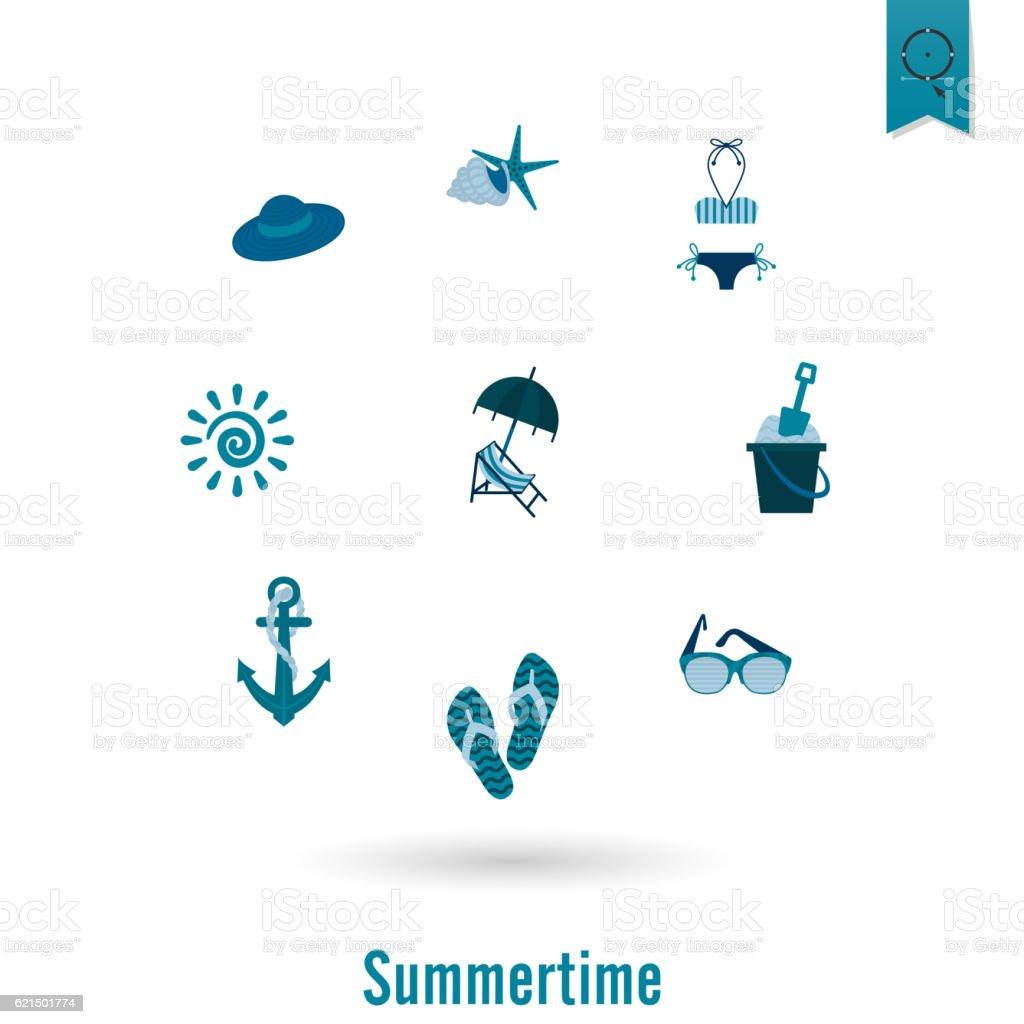 L'été et de la plage à icônes simples lété et de la plage à icônes simples – cliparts vectoriels et plus d'images de aliment surgelé libre de droits
