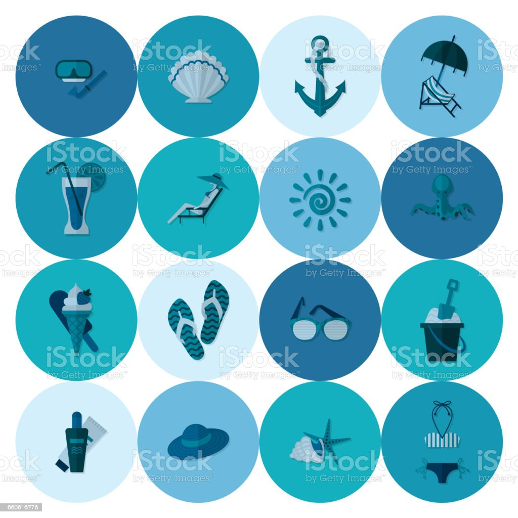 Summer and Beach Simple Flat Icons royalty-free summer and beach simple flat icons stock vector art & more images of anchor - vessel part