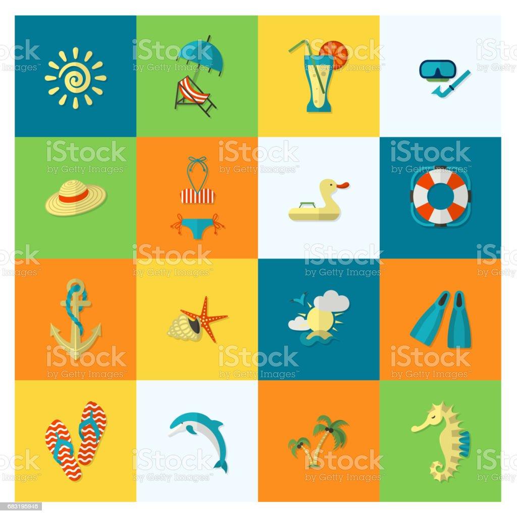 여름 및 플라주 간단한 평편 아이콘 royalty-free 여름 및 플라주 간단한 평편 아이콘 swimsuit contest에 대한 스톡 벡터 아트 및 기타 이미지
