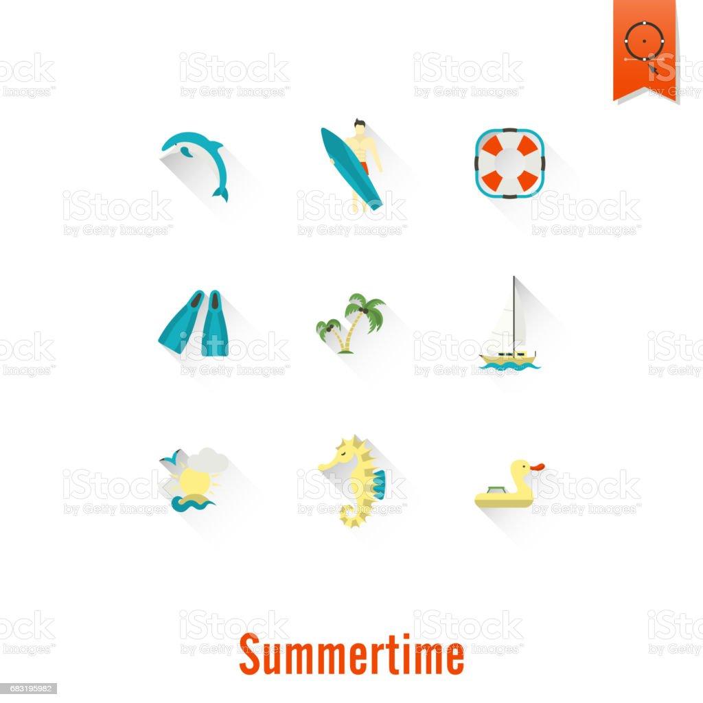 夏天和海灘的簡單平面圖標 免版稅 夏天和海灘的簡單平面圖標 向量插圖及更多 人字拖鞋 圖片