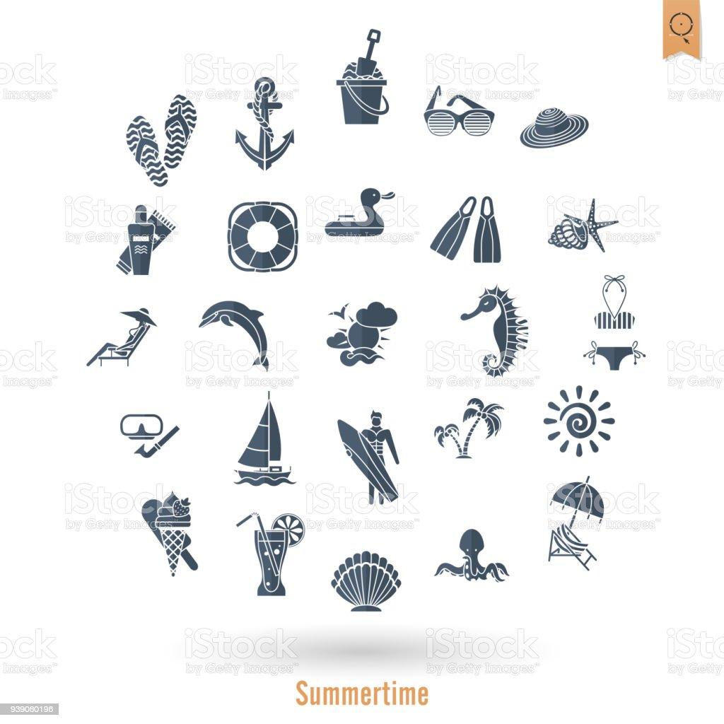 Sommer Strand Und Einfach Flach Symbole Stock Vektor Art und mehr ...