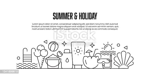 istock Summer and Holiday Related Modern Line Style Banner Design 1341899815