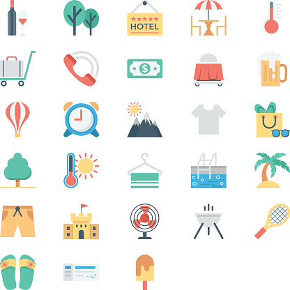 Summer and Holidays Colored Vector Icons 4