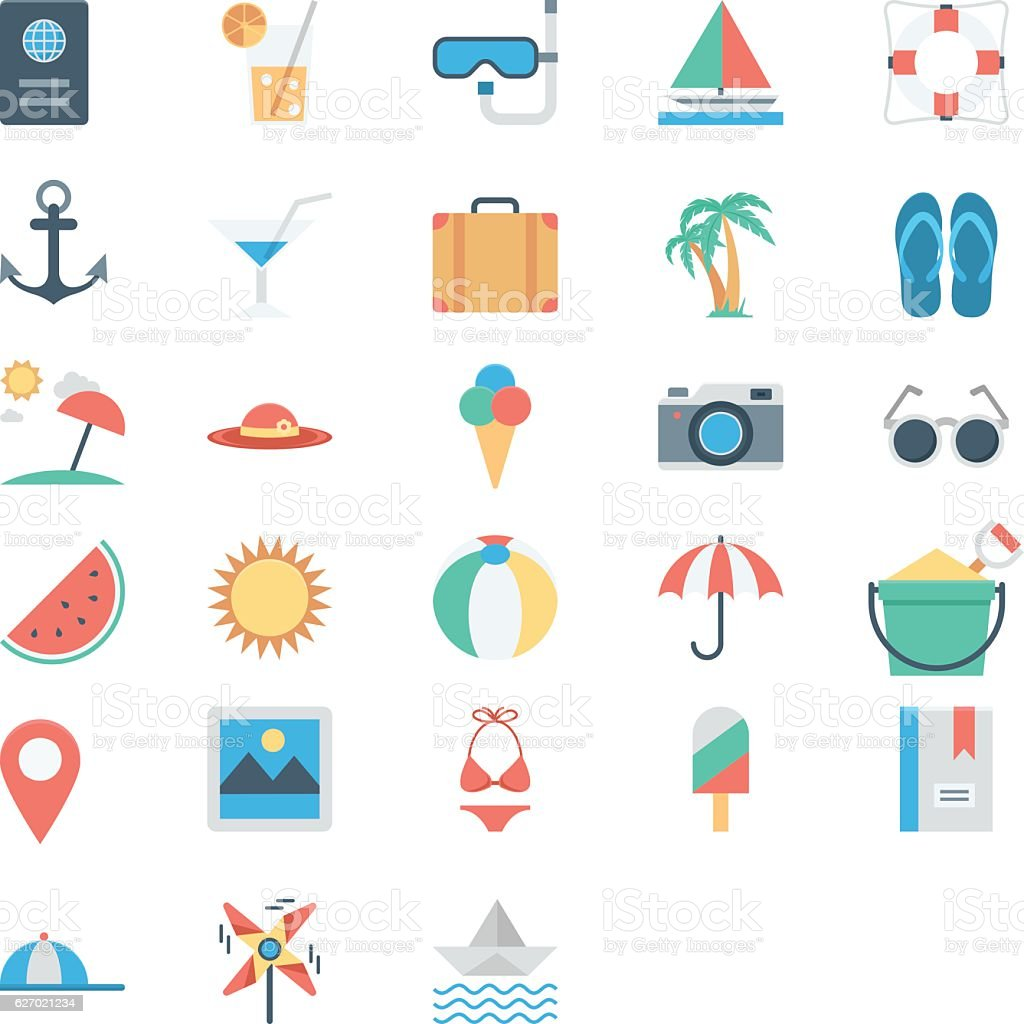 Summer and Holidays Colored Vector Icons vector art illustration
