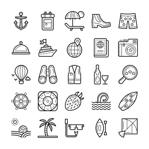 Bекторная иллюстрация Summer And Holidays Icons Set