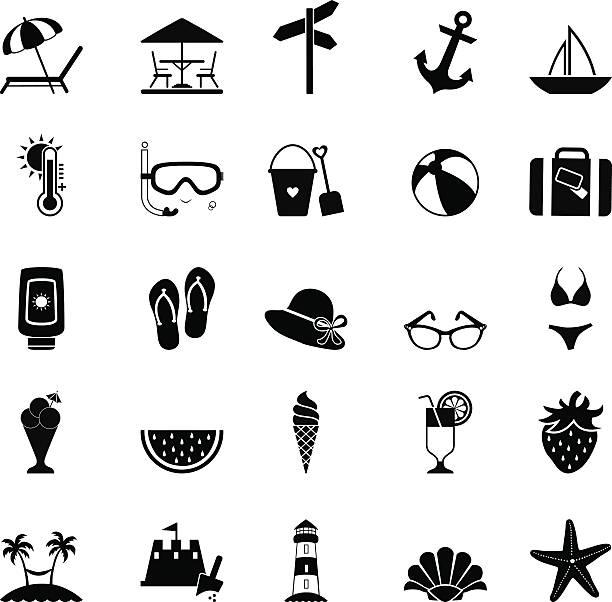 illustrations, cliparts, dessins animés et icônes de ensemble d'icônes et d'agrément - chateau de sable