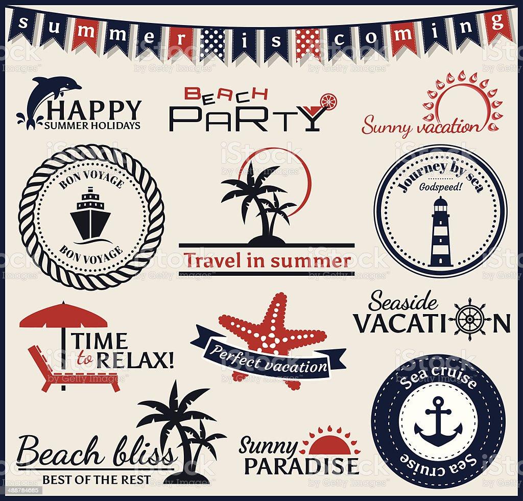 Summer and sea labels, symbols and emblems. Vector design elements. vector art illustration