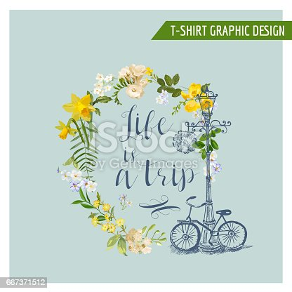 Summer and Spring Field Flowers Graphic Design for T-shirt