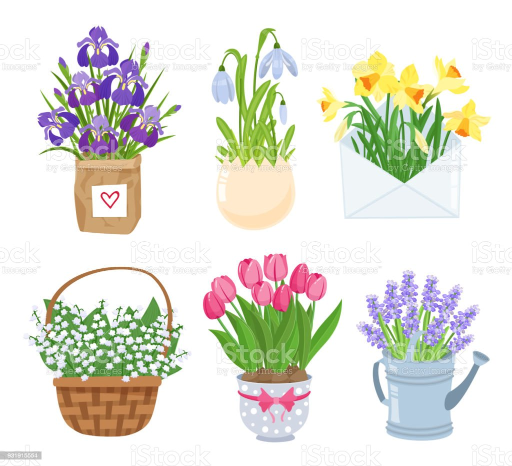 Summer And Spring Flowers In Different Funny Pots Decoration Set