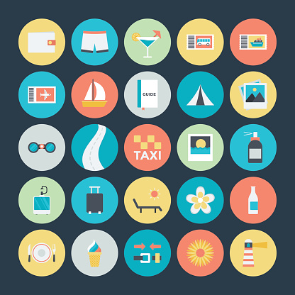 Summer and Travel Colored Vector Icons 4