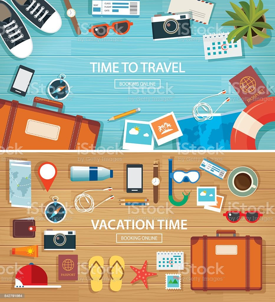 summer and travel flat banner background template vector art illustration