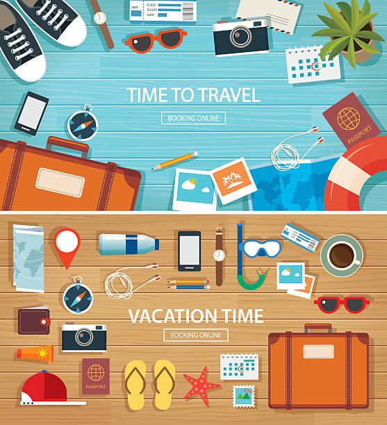 summer and travel flat banner background template - 個人飾物 幅插畫檔、美工圖案、卡通及圖標
