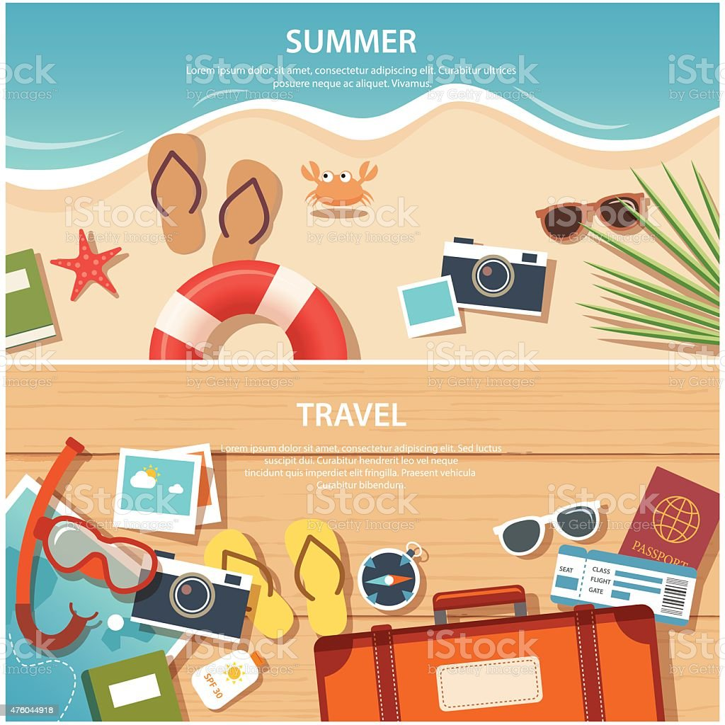 summer and travel flat banner template vector art illustration