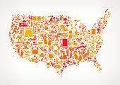 USA on Summer & Vacation Icon Pattern