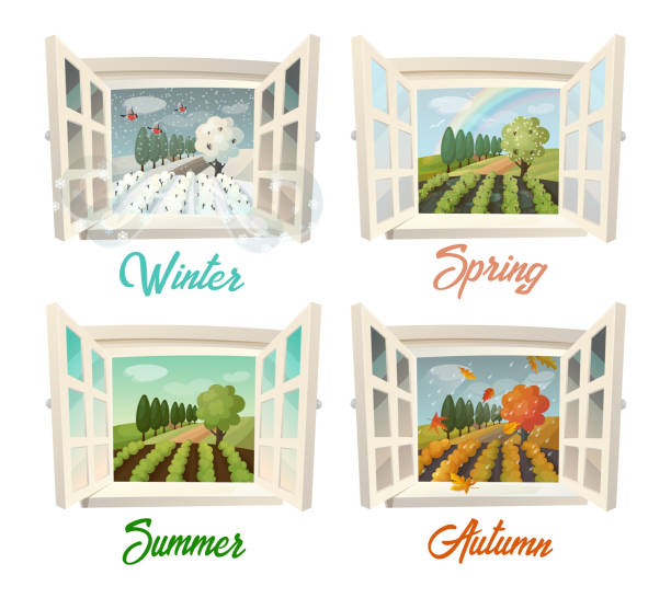 summer and winter, spring and autumn village view - cztery pory roku stock illustrations