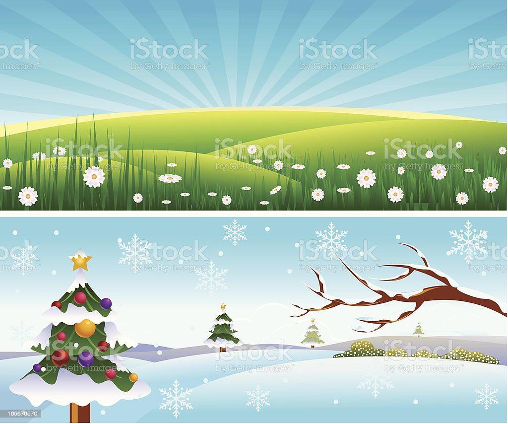 Summer And Winter../Landscape royalty-free summer and winterlandscape stock vector art & more images of backgrounds