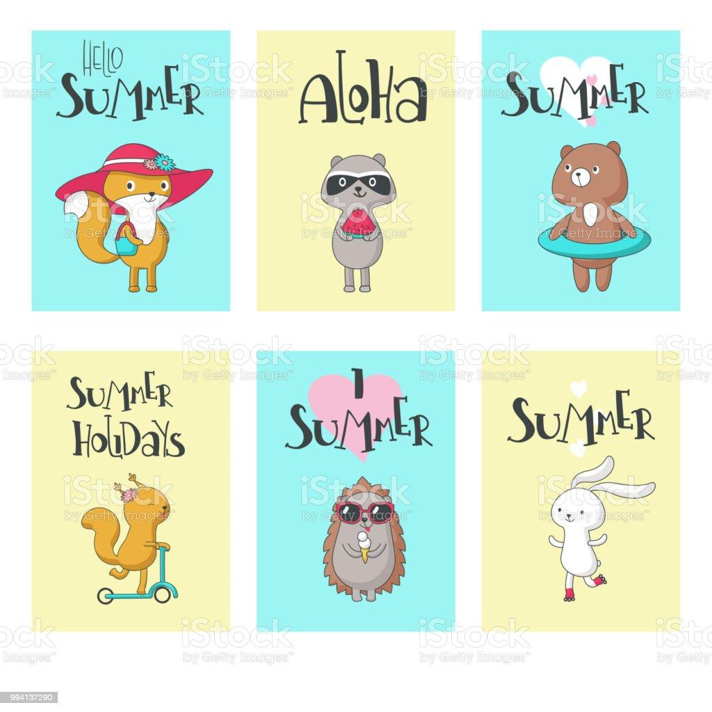 夏の動物カード ベクトル手描きイラスト - いたずら書きのベクターアート