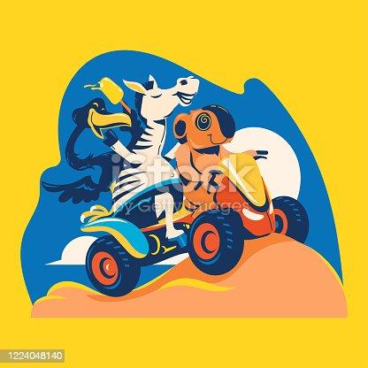 Summer animal illustration. Zebra, Flamingo, and Koala playing ATV explore the beach