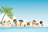 Vector Summer background and kids