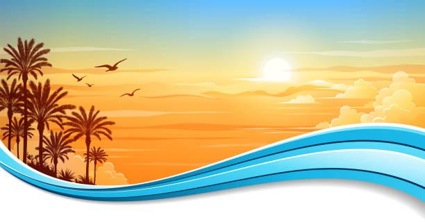 Summer Background Banner vector art illustration